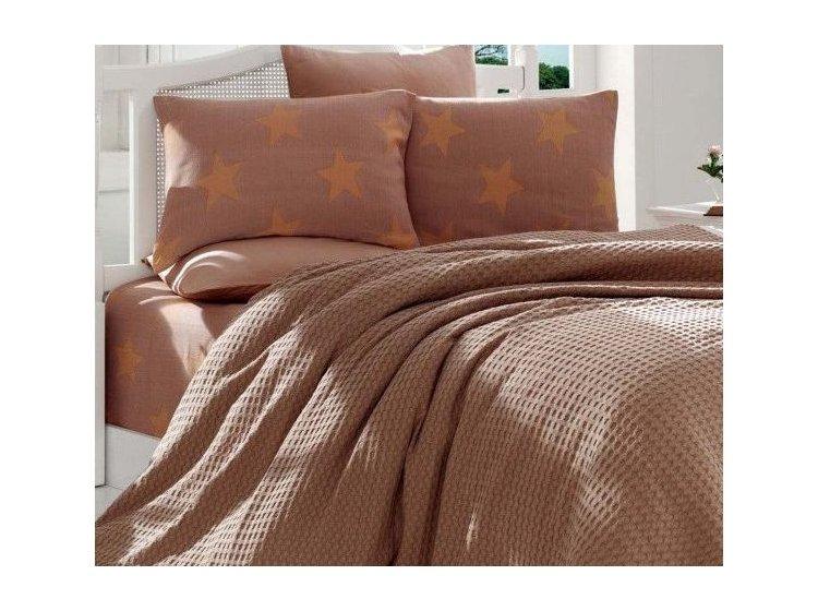 Постельное белье с вафельным покрывалом Eponj Home. BigStar kahve