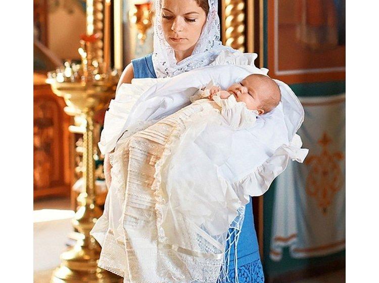 Рубашка крестильная  Mimino baby. Семейные ценности молочная