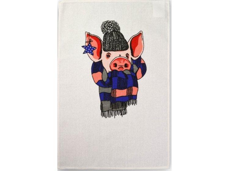 Полотенце кухонное рогожка Home line. Поросенок с синим шарфом