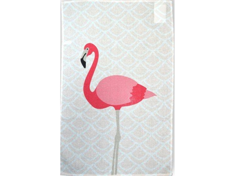 Полотенце кухонное рогожка Home line. Фламинго