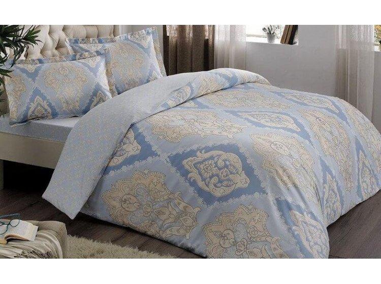 Постельное белье TAC. Satin Vales Blue (простынь на резинке)