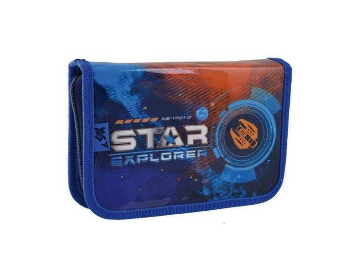 Пенал твердый одинарный с двумя клапанами 1 Вересня. HP-04 Star Explorer, 13,5смх4см