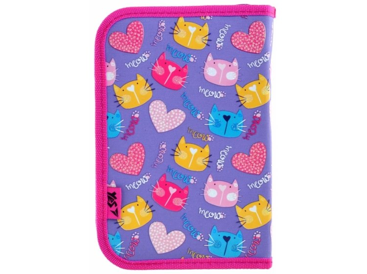 Пенал твердый одинарный с двумя клапанами YES. HP-04 Loving Cats, 13,5смх4см