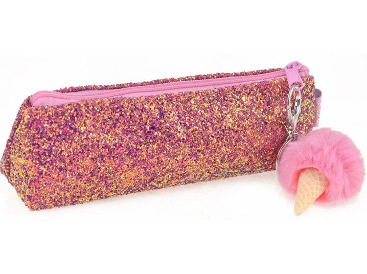Пенал-косметичка с пайетками YES. Ice-Cream розовая