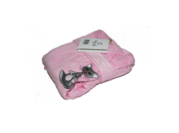 Халат детский махровый Nusa. Котик розового цвета