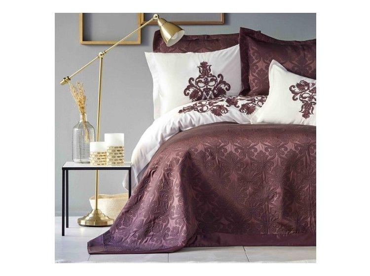 Постельное белье с покрывалом Karaca Home. Diana bordo 2019