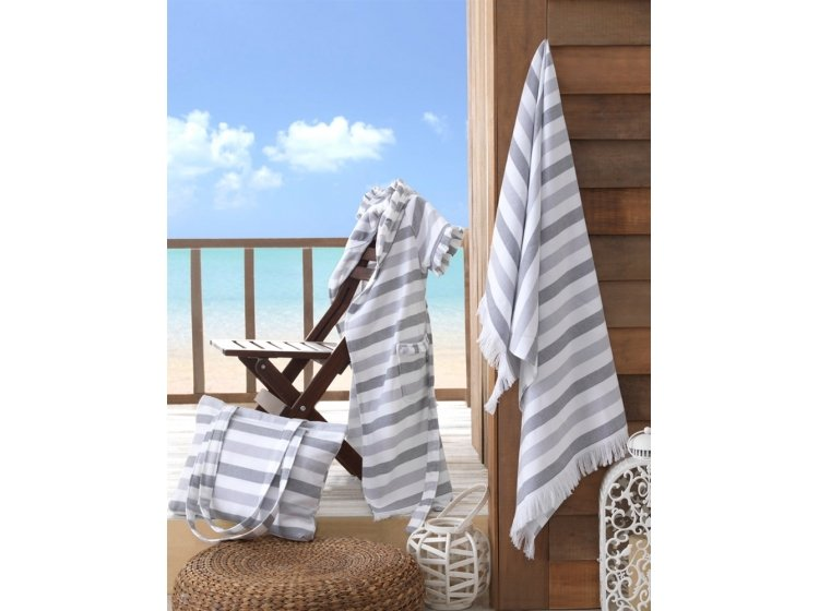 Пляжное полотенце Hobby. STRIPE Peshtemal, серое
