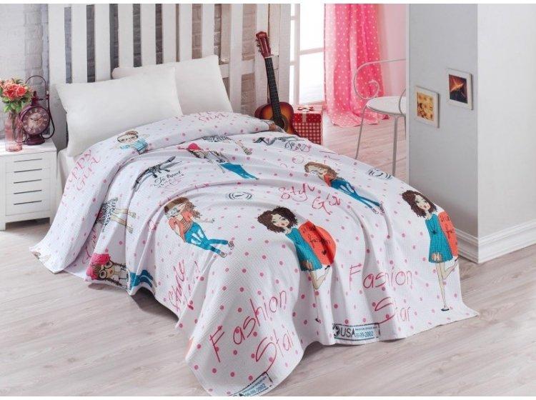Детское постельное белье с вафельным покрывалом Eponj Home. FashionGirl Pembe