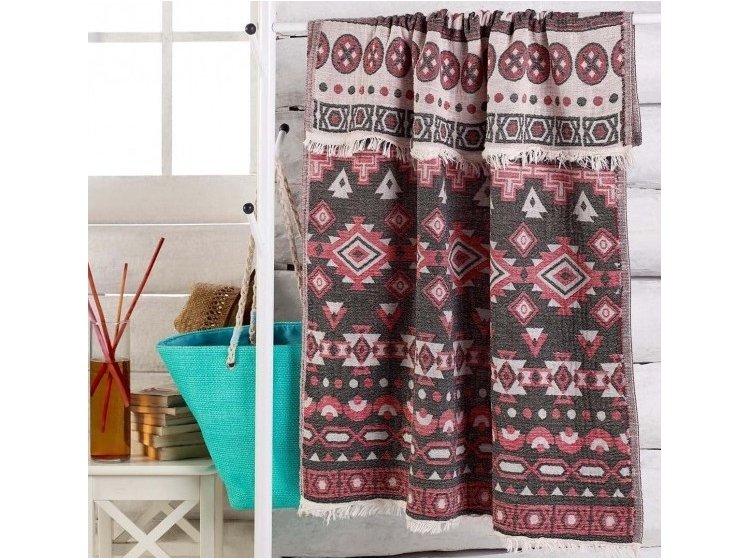 Пляжное полотенце Eponj Home. Jakarli Kilim kirmizi