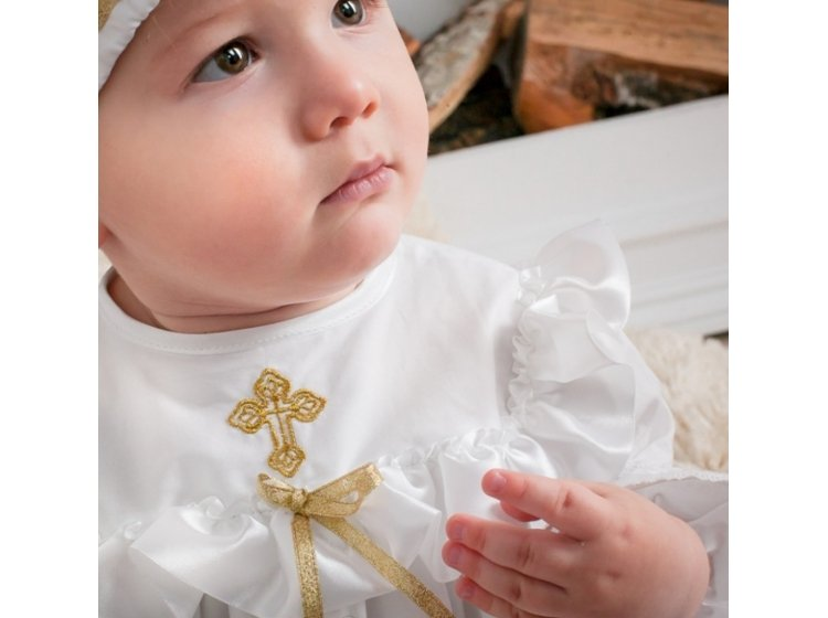 Рубашка крестильная  Mimino baby. Ангелочек золото