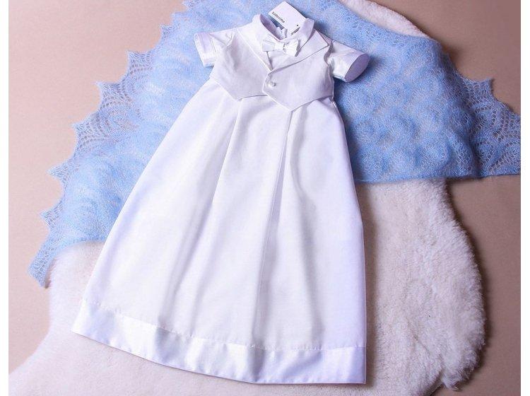 Рубашка крестильная  Mimino baby. Маленький Джентльмен белая