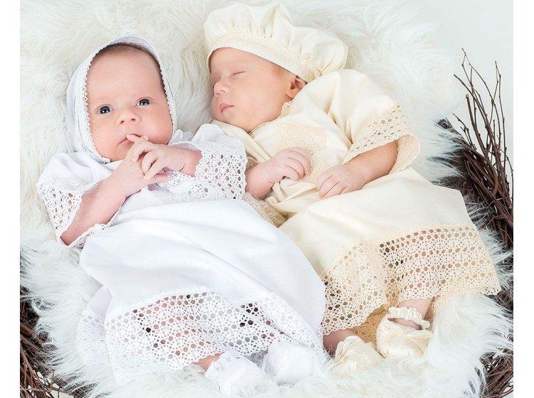 Рубашка крестильная Mimino baby. Ажурная белая