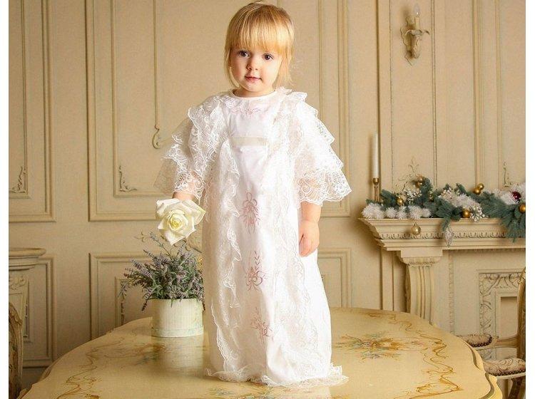 Рубашка крестильная  Mimino baby. Софья молочная