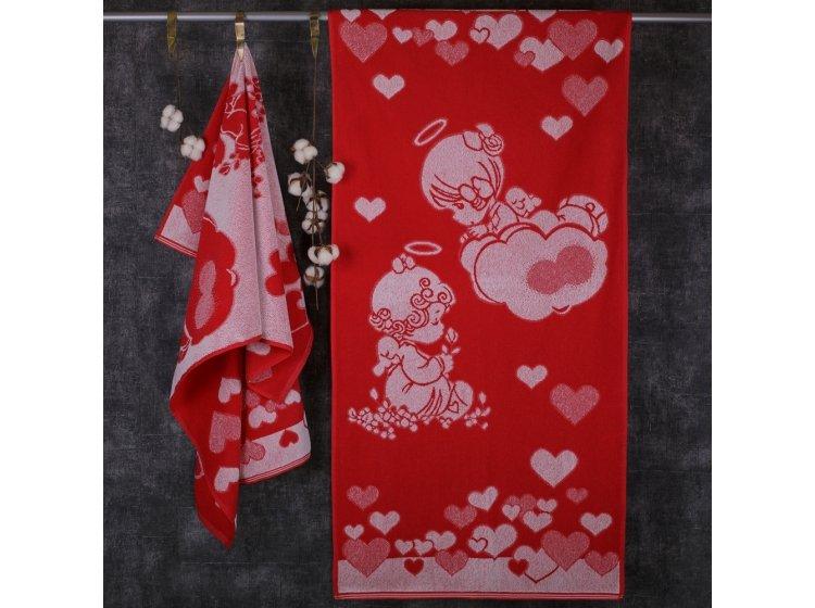Махровое полотенце Речицкий текстиль. Девочки - ангелы красное
