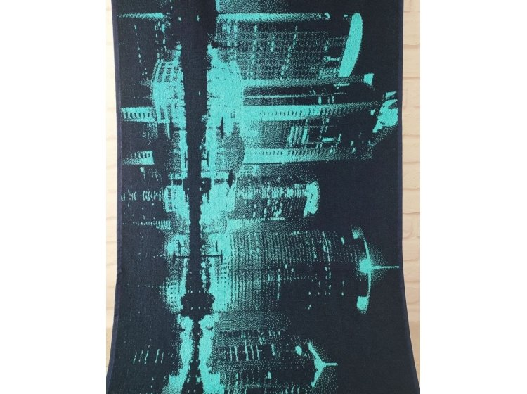 Махровое полотенце Речицкий текстиль. НОЧНОЙ ГОРОД бирюзовое