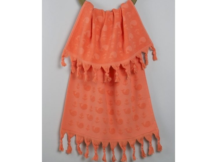 Махровое полотенце Barine. Whale papaya