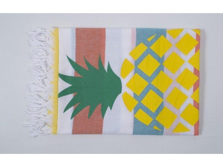 Пляжное полотенце Barine. Pestemal Ananas Orange-turkuaz-yellow