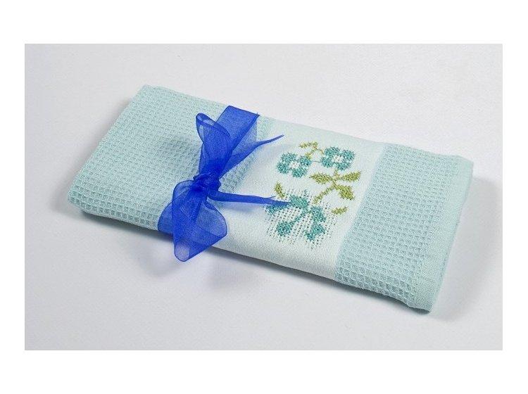 Вафельное кухонное полотенце Lotus. Life ментоловое