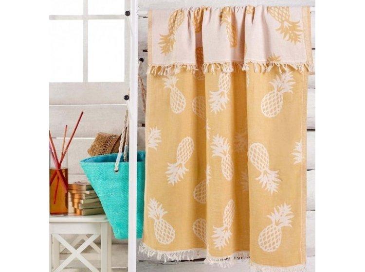 Пляжное полотенце Eponj Home. Jakarli Ananas koyu sari