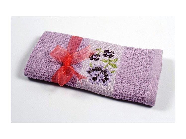 Вафельное кухонное полотенце Lotus. Life лиловое