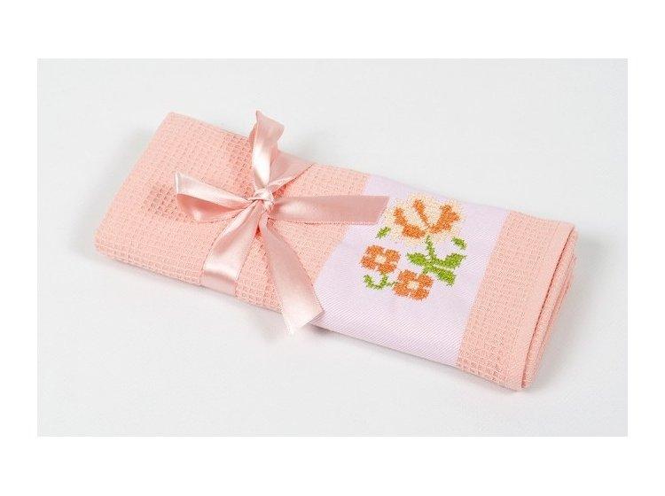 Вафельное кухонное полотенце Lotus. Life персиковое