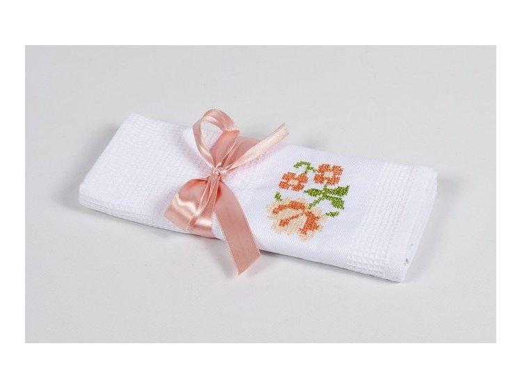 Вафельное кухонное полотенце Lotus. Life белое