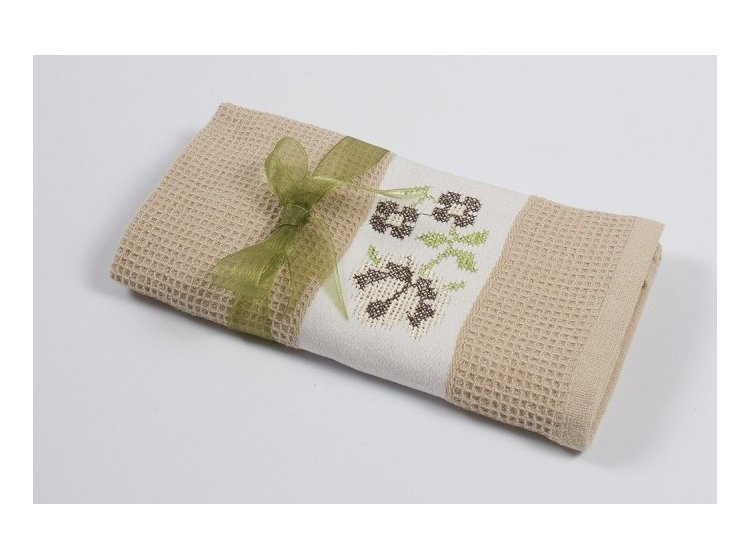 Вафельное кухонное полотенце Lotus. Life бежевое