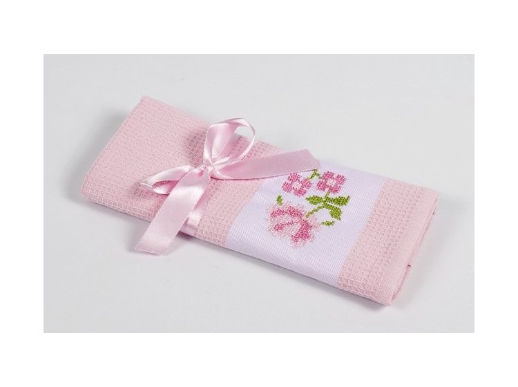 Вафельное кухонное полотенце Lotus. Life розовое