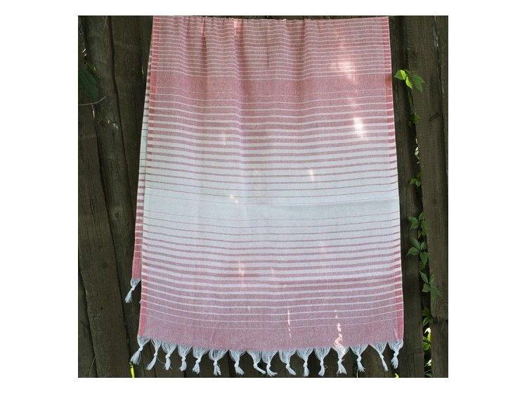 Пляжное полотенце Lotus. Pestemal Light-pink 05 Micro stripe
