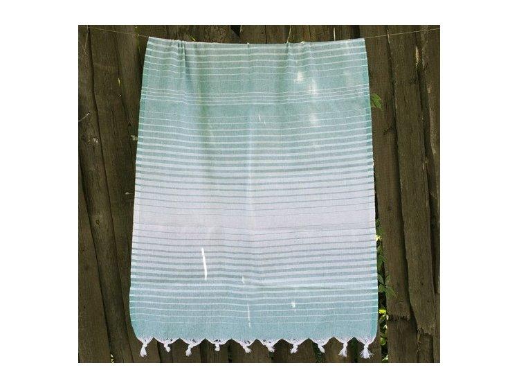 Пляжное полотенце Lotus. Pestemal Green 10 Micro stripe