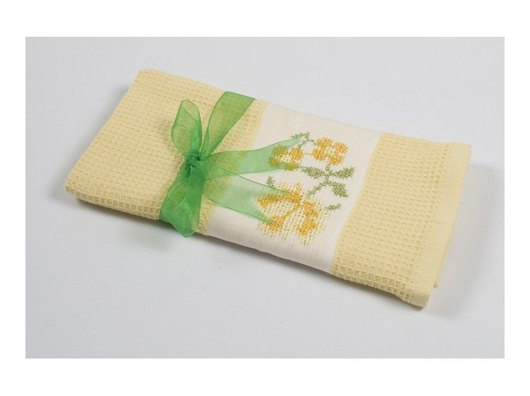 Вафельное кухонное полотенце Lotus. Life желтое