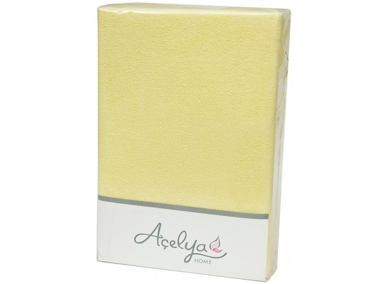 Простынь махровая на резинке с наволочками Acelya. Yellow