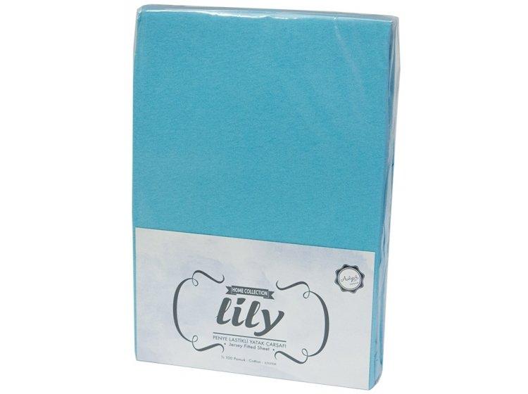 Простынь трикотажная на резинке с наволочками Acelya. Lily Turquoise