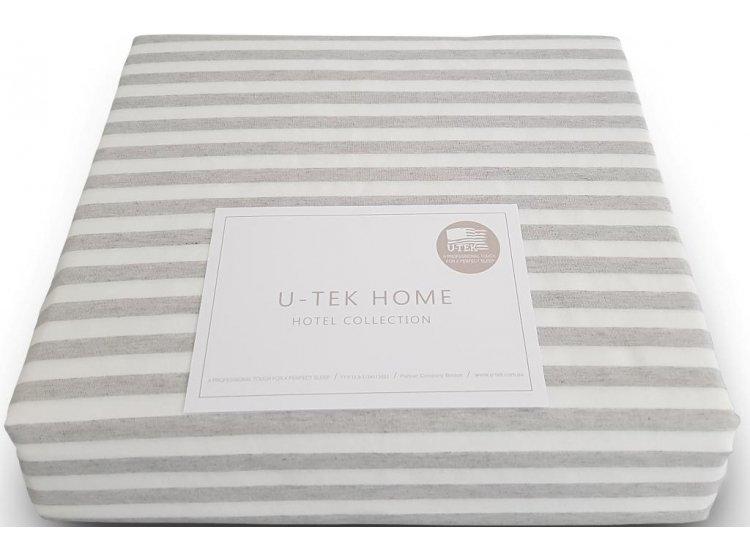 Простынь на резинке U-TEK. Hotel Collection  Stripe Grey 30