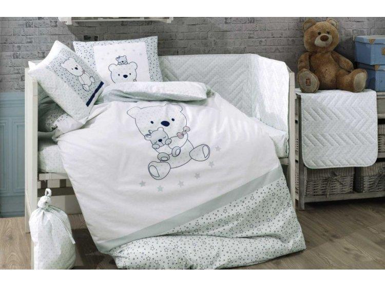 Постельное белье в детскую кроватку HOBBY. Bonita  мятное